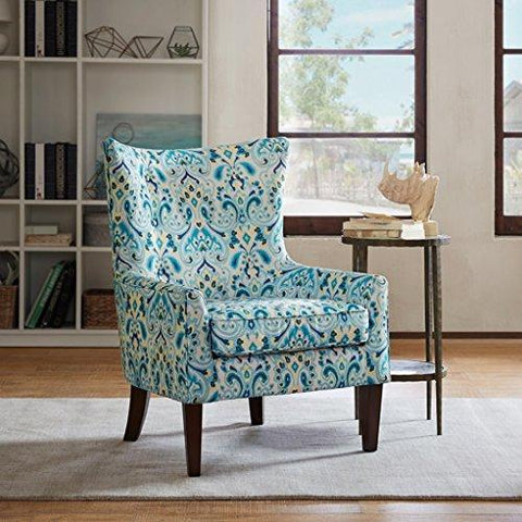 Contemporary Teal Blue Green Print Upholstered Button Tufted Wingback Accent Armchair with Dark Wood Legs