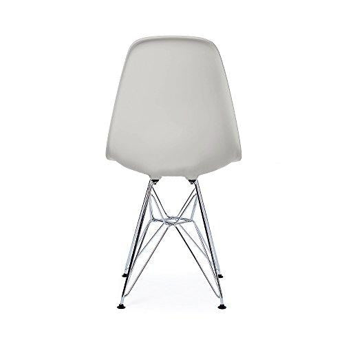 Mid Century Modern Light Gray DSR Chair with Eiffel Chrome Steel Base - Inspired by Eames Design - HIGH QUALITY Matte Finish - ModHaus Living