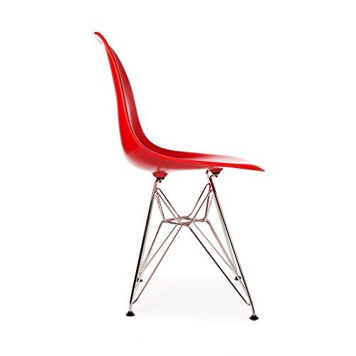 Mid Century Modern Red DSR Chair with Eiffel Chrome Steel Base - Inspired by Eames Design - HIGH QUALITY Satin Finish