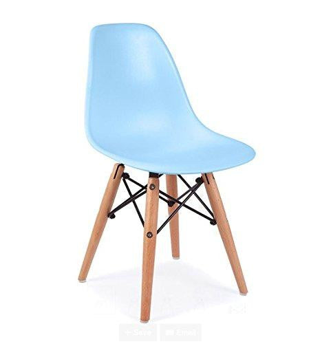 Mid Century Modern CHILDREN KIDS Blue DSW Chair with Wood Dowel Base Inpired by Eames design - HIGH QUALITY Matte Finish