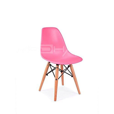 Mid Century Modern CHILDREN KIDS Pink DSW Chair with Wood Dowel Base Inpired by Eames design - HIGH QUALITY Matte Finish