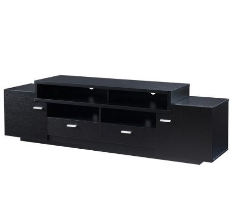 Modern Transitional Wood 72 Inch Media Cabinet TV Stand with 2 Large Cabinets 2 Lower Drawers and 2 Shelves (Black)