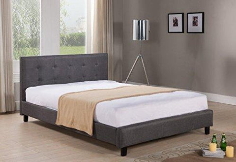 Modern Tufted Dark Gray Linen Upholstered Queen Headboard and Platform Bed