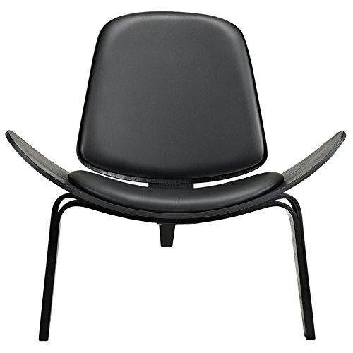 Mid Century Modern Danish Hans Wegner Style Molded Black Plywood & Black Faux Leather Lounge Chair