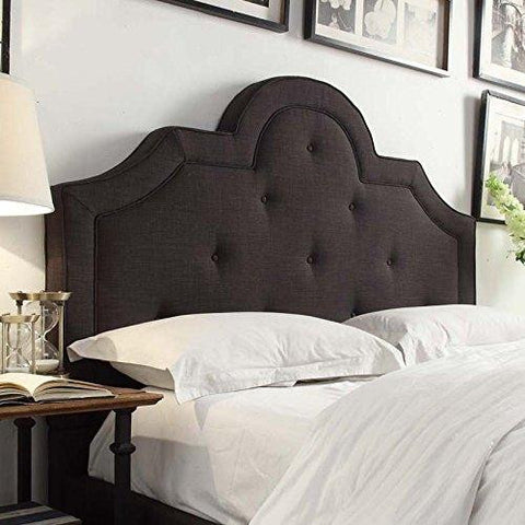 ModHaus Classic High Arch Button Tufted Dark Gray Upholstered Queen Headboard