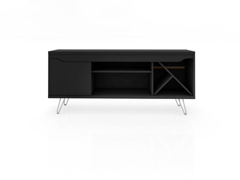 Modern TV Stand with Wine Rack and  Splayed Metal Legs in Black