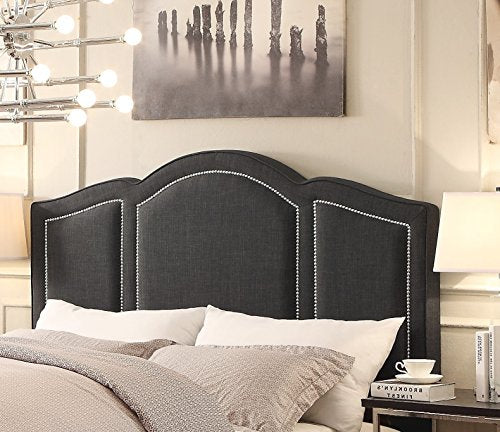 Modern Dark Gray Linen Upholstered Arch Queen Headboard with Silver Nailheads