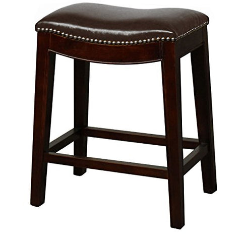Classic Saddle Wood Legs Backless Counter Height Barstool with Leather Seat - Brown