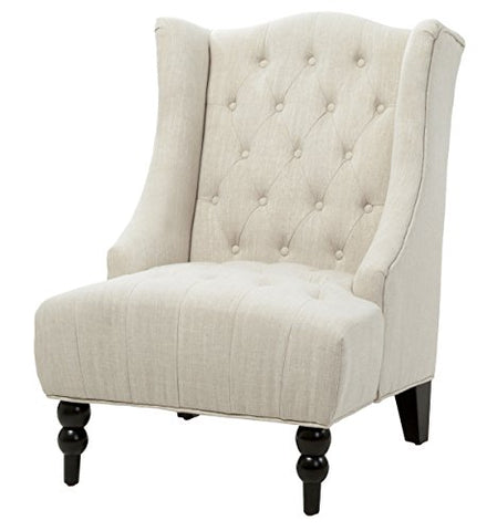 Classic High Back Button Tufted Light Beige Linen Upholstered Accent Club Wingback Chair with Espresso Wood Legs