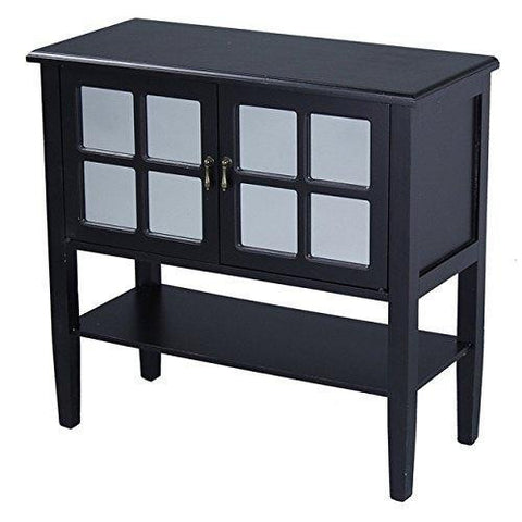 Country Cottage Black Two-Door Wooden Console Buffet Display Cabinet with 4-Pane Mirror Insert and Bottom Shelf