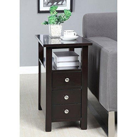 Modern Narrow Nightstand Wooden Dark Espresso Wenge Chair Side Table W ModH
