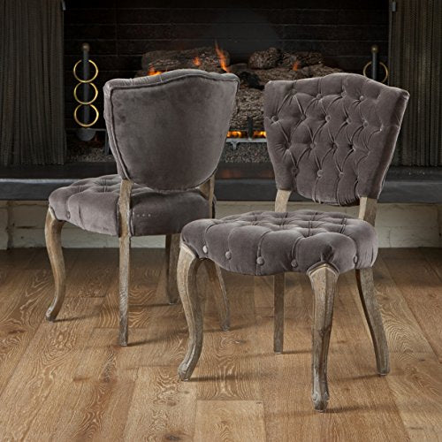 French Retro Modern Style Gray Velvet Button Tufted Chair with Reclaimed Look Carved Oak Wood Cabriole Legs (Set of 2)