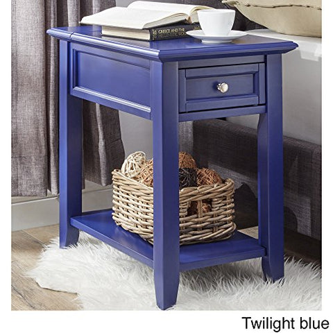 Modern Navy Blue Wooden Accent End Table Night Stand with Hidden Power Strip Charging Station, Storage Drawer and Shelf