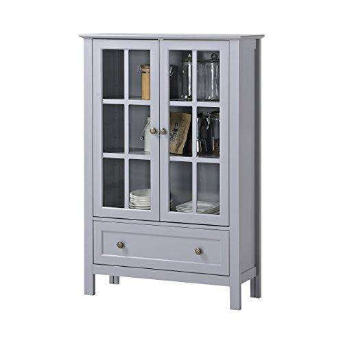 Cottage Modern Wood Accent Display Storage Cabinet Double Glass Doors and Drawer