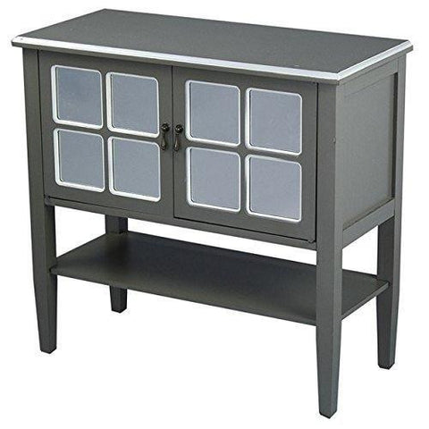 Country Cottage Style Gray Two-Door Wooden Console Cabinet with 4-Pane Mirror Insert and Bottom Shelf