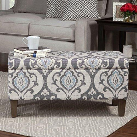 Modern Style Blue Slate Large Accent Round Vintage Storage Ottoman Bench | Wooden Legs, Gray Floral Design, Foam Seat