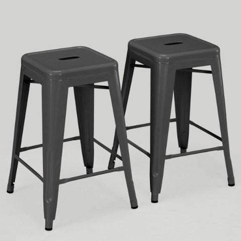 Set of 2 Charcoal Gray French Bistro Tolix Style Metal Counter Stools in Glossy Powder Coated