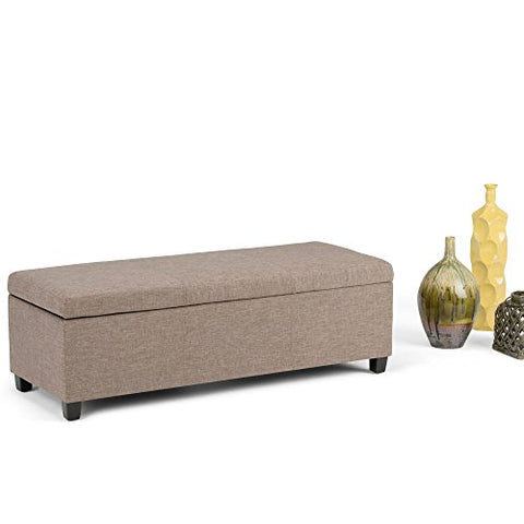 Modern Transitional Faux Leather Upholstery Storage Ottoman Bench with Solid Wood Frame