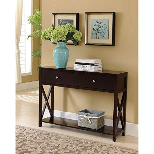 Modern Wooden Espresso Dark Brown Narrow Console Sofa Table with 2-Storage Drawers