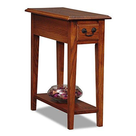 Country Style Narrow Nightstand Rectangle Wooden Medium Oak Chair Side Table with Storage Drawer