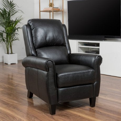 Modern Wood Faux Leather Upholstered Recliner Club Chair with Espresso Wood Legs  (Black)