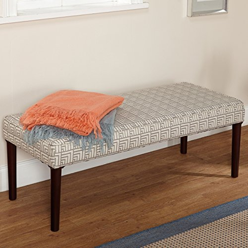 Modern Off White and Denim/greyish Blue Pattern Fabric Upholstered Accent Bench Ottoman Seating Footrest