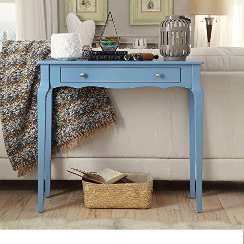 Modern Cottage Wood Narrow End Sofa Console Accent Table with Storage Drawer - (Sky Blue)