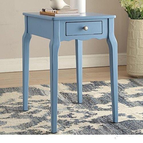 Modern Country Style Wood Accent Nightstand End Sofa Side Table Rectangle Shaped with Storage Drawer - Sky Blue