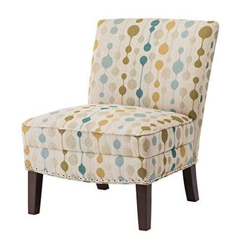 Contemporary Beige Neutral Modern Circle Print Upholstered Armless Accent Chair with Nailhead Trim and Dark Wood Legs