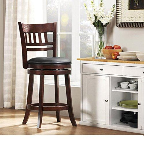 Modern Cherry Kitchen Stool Counter Height with Back 24-inch Wooden Black  Faux Leather Seat and Swivel - Includes Modhaus Living Pen