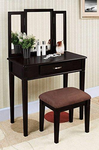 Contemporary Style Wooden Accent Tri-Folding Mirror Make-Up Vanity Dresser Table and Brown Upholstery Fabric Stool Set with Sinlge Storage Drawer | Rectangle, Black Finish, Bedroom Furniture