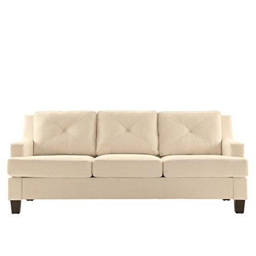 Modern Linen Button Tufted Sloped Arm Sofa with Track Living Room Decor | Espresso Wooden Feet and Foam Seat Cushions - (White)