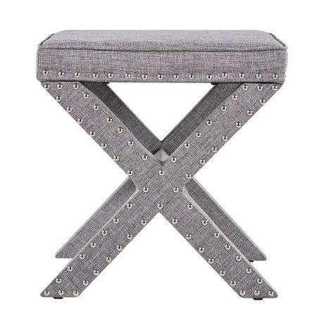 Outstanding Contemporary Linen Fabric Upholstered 17 Inch Bench Ottoman Vanity Stool With X Legs And Silver Nailhead Pdpeps Interior Chair Design Pdpepsorg