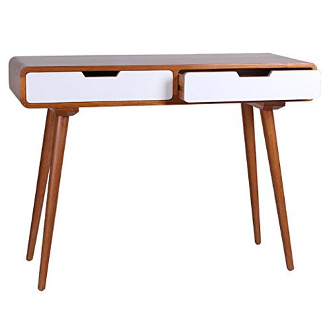 Groovy Mid Century Modern Light Wood Accent Console Sofa Hall Table With 2 White Drawers Long Angled Legs And Curved Edges Creativecarmelina Interior Chair Design Creativecarmelinacom