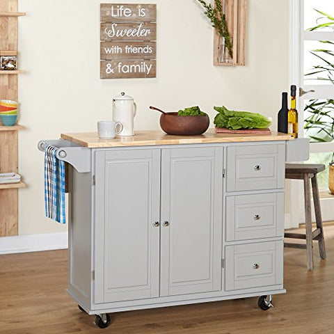 Modern Transitional Drop Leaf Kitchen Cart with Utility Drawers 2 Storage  Cabinet and Towel Holder (Gray)