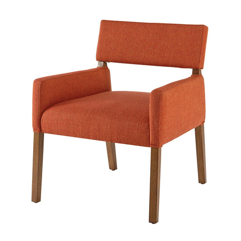 Mid Century Modern Orange Upholstered Wood Accent Lounge Dining Side Arm Chair