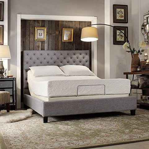 Modern Diamond Button Tufted Upholstered Padded Square Gray Queen Headboard and Frame Bed