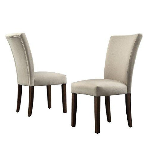 Pleasing Modhaus Modern Beige Linen Parsons Style Dining Chairs Wood Finish Wooden Legs Set Of 2 Ncnpc Chair Design For Home Ncnpcorg