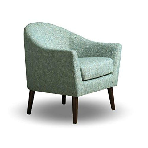 Mid Century Style Aqua Chenille Upholstered Accent Armchair with Tapered Espresso Wood Legs