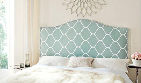 Modern Chic Arch Aqua and White Upholstered Queen Headboard with Lattice Pattern & Silver Nailheads