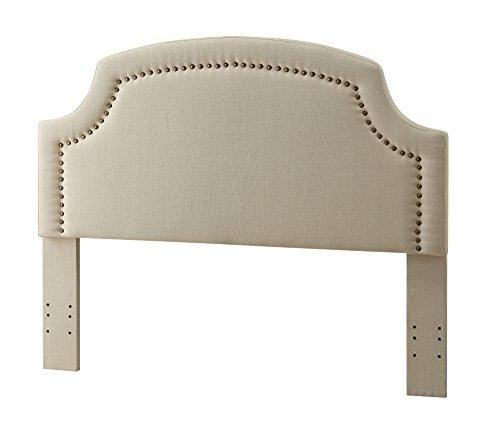 Modern Clipped Corners Upholstered Padded Beige Linen Fabric Queen Headboard with Nailheads