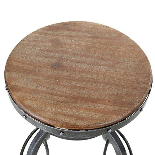 Modern Industrial Weathered Adjustable Height Swivel Iron and Wood Bar Counter Stool