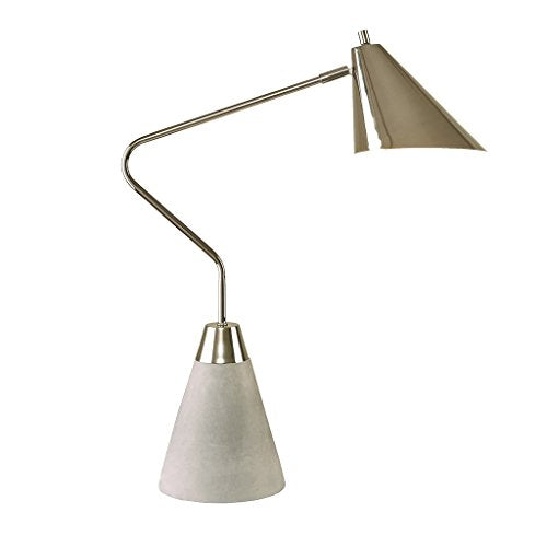 Modern Industrial Table Desk Accent Lamp with Cement Base and Pewter Metal Exterior