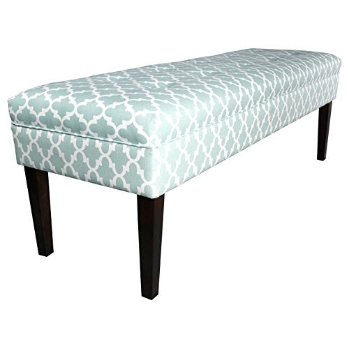 Contemporary Button Tufted Geometric Print Upholstery Bench with Espresso Finished Legs (Blue)