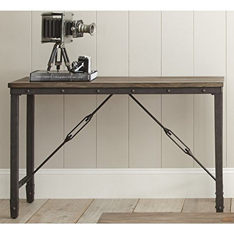 Modern Industrial Wood Plank Top Sofa Table with Iron Base