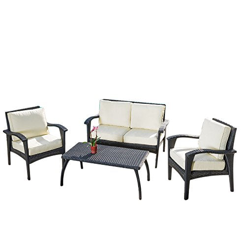 Outdoor Patio 4 Piece Set in Black Eco Friendly Faux Wicker with Cream Cushions - Loveseat, Chairs and Coffee Table