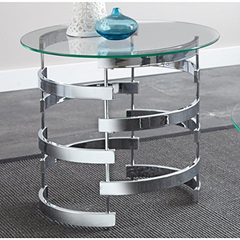 Contemporary Round Tempered Glass Top End Table with Chrome Base