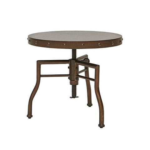 Industrial 21 inch Hammered Bronze Round Accent End Table with Adjustable Height and Nailheads Accent