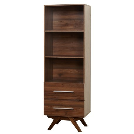 Mid Century Modern Wood Tower Storage Bookshelf with 3 Shelves 2 Drawers and Angled Legs