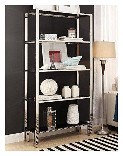 Modern Mirror Finish Chrome Bookcase with 5 Black Tempered Glass Shelves - 36 wide x 73 height x 15 depth inches Indoor